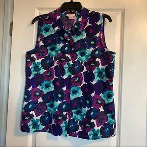 Loft Purple Flower Button Down Blouse Size M